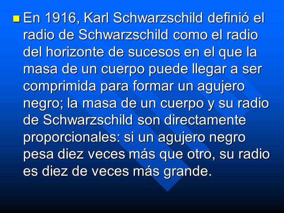En 1916, Karl Schwarzschild definió el radio de Schwarzschild como el radio del horizonte de sucesos en el que la masa de un cuerpo puede llegar a ser