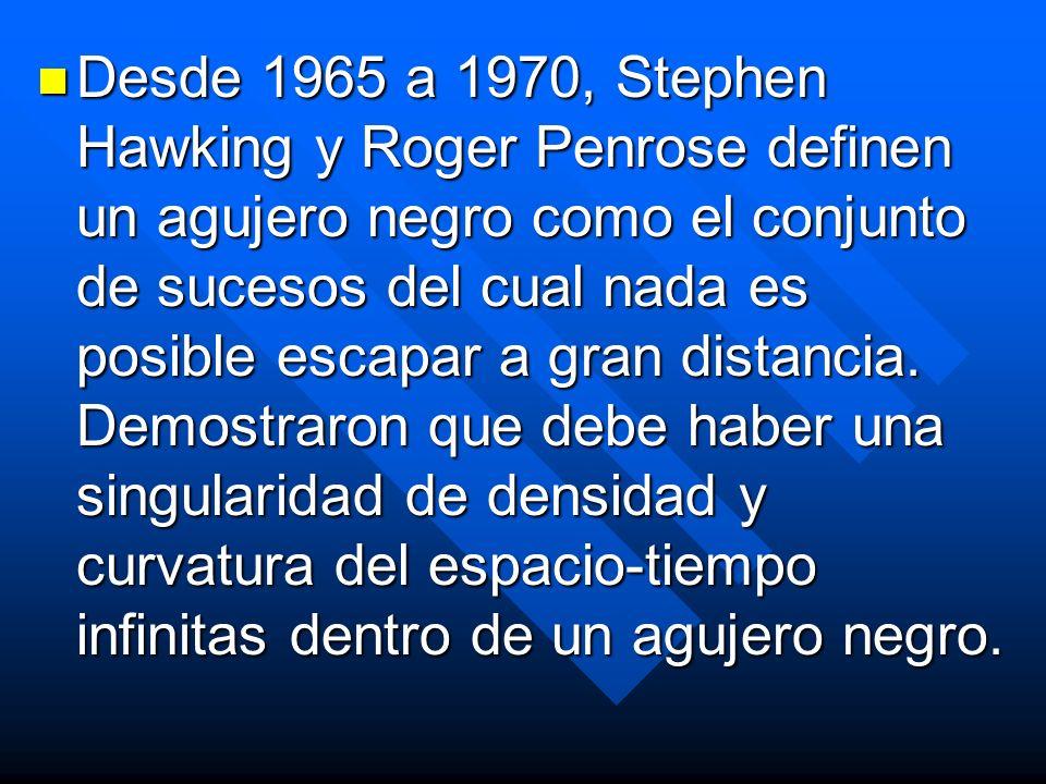Desde 1965 a 1970, Stephen Hawking y Roger Penrose definen un agujero negro como el conjunto de sucesos del cual nada es posible escapar a gran distan