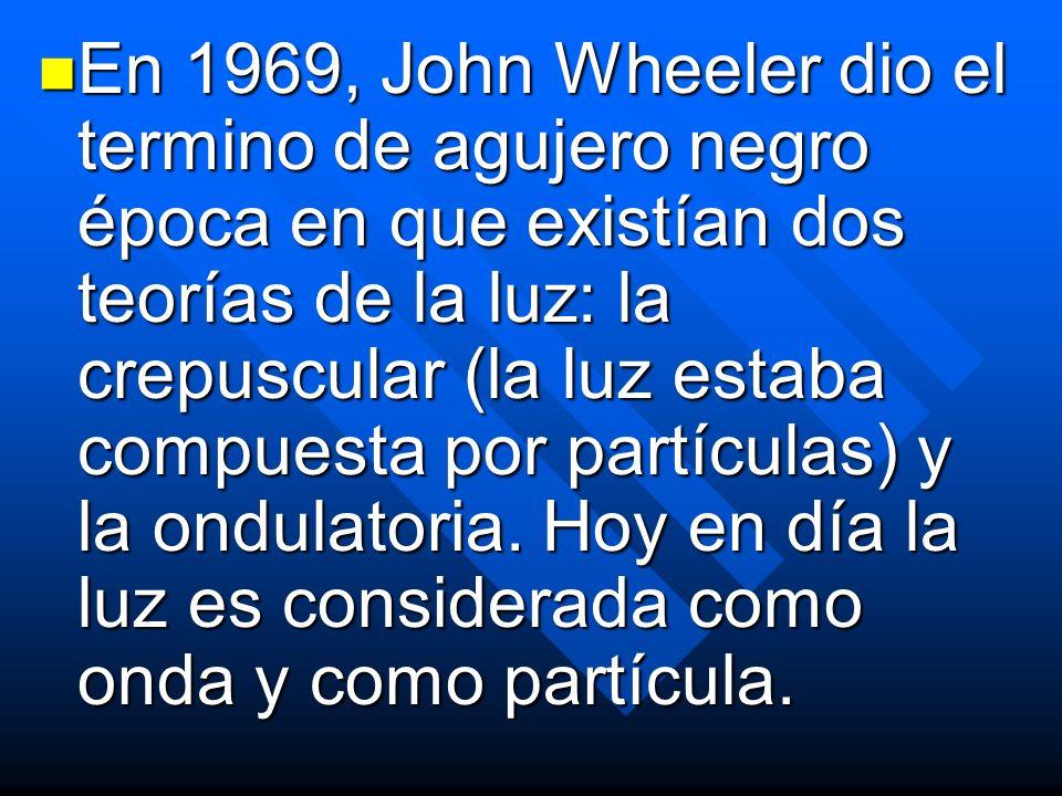 En 1969, John Wheeler dio el termino de agujero negro época en que existían dos teorías de la luz: la crepuscular (la luz estaba compuesta por partícu