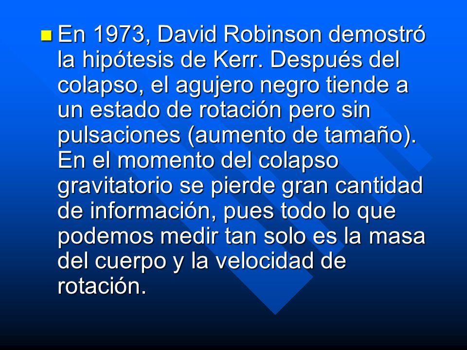 En 1973, David Robinson demostró la hipótesis de Kerr. Después del colapso, el agujero negro tiende a un estado de rotación pero sin pulsaciones (aume
