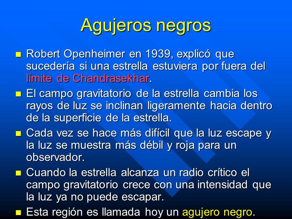 Agujeros negros Robert Openheimer en 1939, explicó que sucedería si una estrella estuviera por fuera del límite de Chandrasekhar. Robert Openheimer en