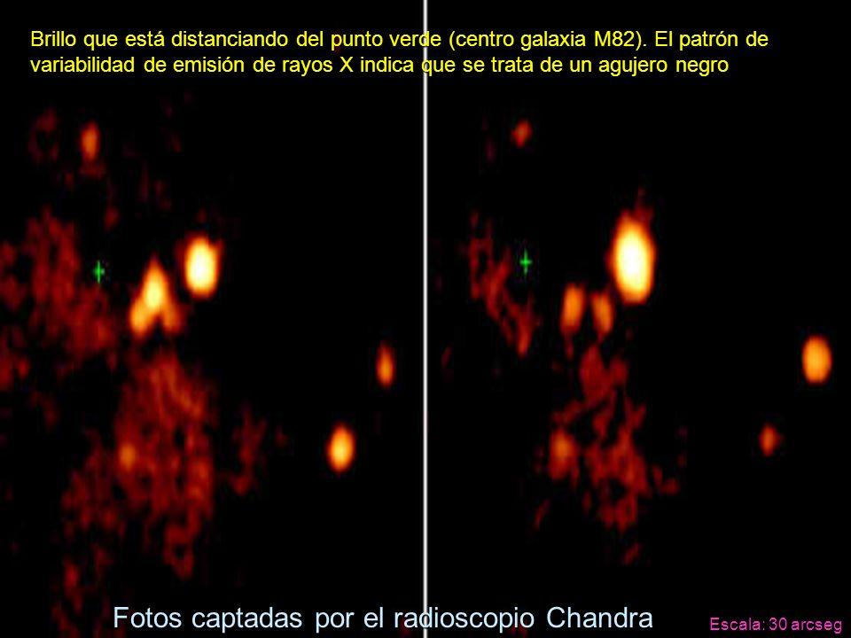 Brillo que está distanciando del punto verde (centro galaxia M82). El patrón de variabilidad de emisión de rayos X indica que se trata de un agujero n