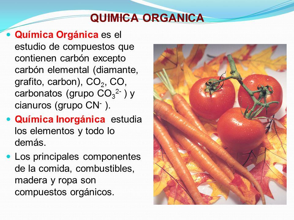 QUIMICA ORGANICA Química Orgánica es el estudio de compuestos que contienen carbón excepto carbón elemental (diamante, grafito, carbon), CO 2, CO, car