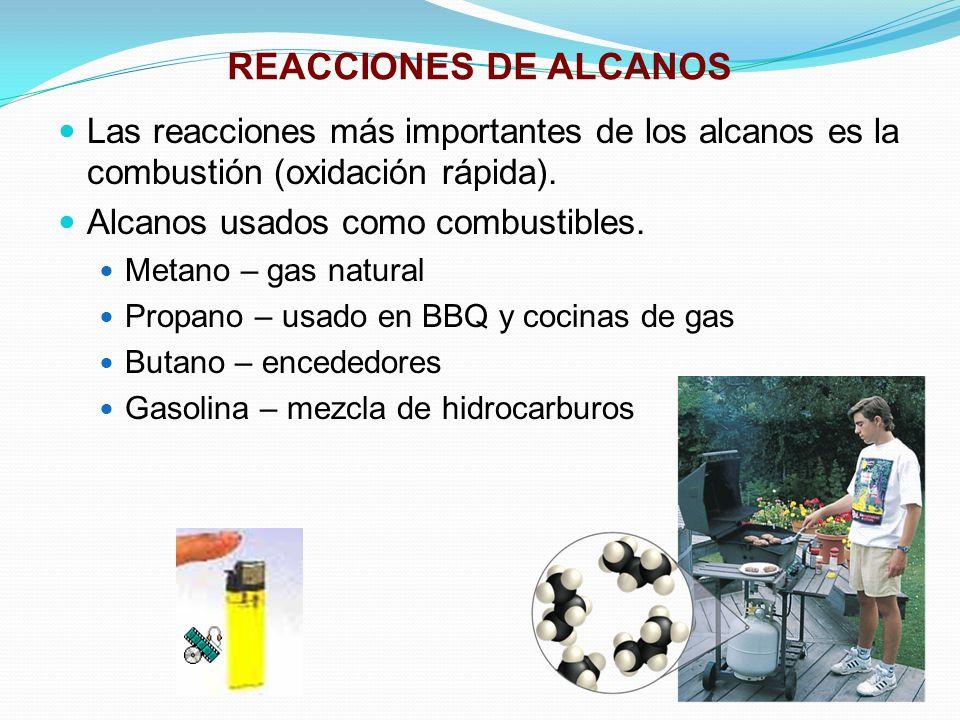 REACCIONES DE ALCANOS Las reacciones más importantes de los alcanos es la combustión (oxidación rápida). Alcanos usados como combustibles. Metano – ga