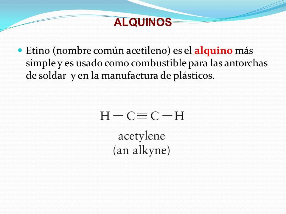 ALQUINOS Etino (nombre común acetileno) es el alquino más simple y es usado como combustible para las antorchas de soldar y en la manufactura de plást