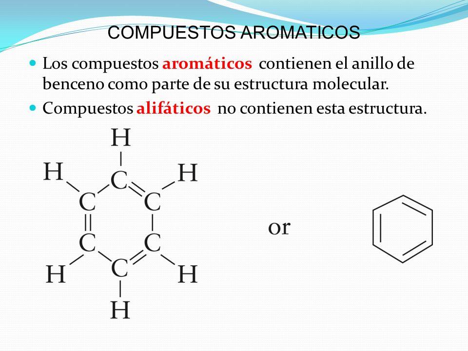 COMPUESTOS AROMATICOS Los compuestos aromáticos contienen el anillo de benceno como parte de su estructura molecular. Compuestos alifáticos no contien