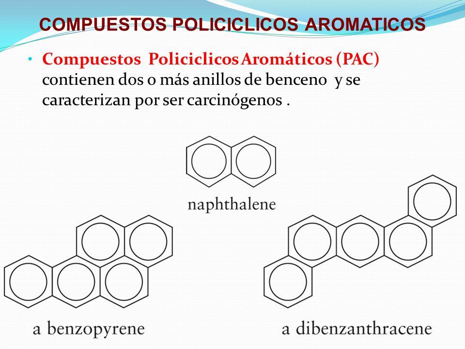 COMPUESTOS POLICICLICOS AROMATICOS Compuestos Policiclicos Aromáticos (PAC) contienen dos o más anillos de benceno y se caracterizan por ser carcinóge