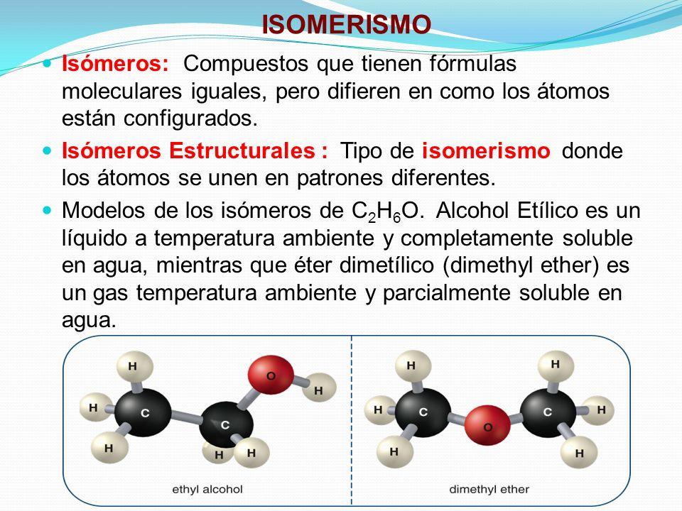 ISOMERISMO Isómeros: Compuestos que tienen fórmulas moleculares iguales, pero difieren en como los átomos están configurados. Isómeros Estructurales :
