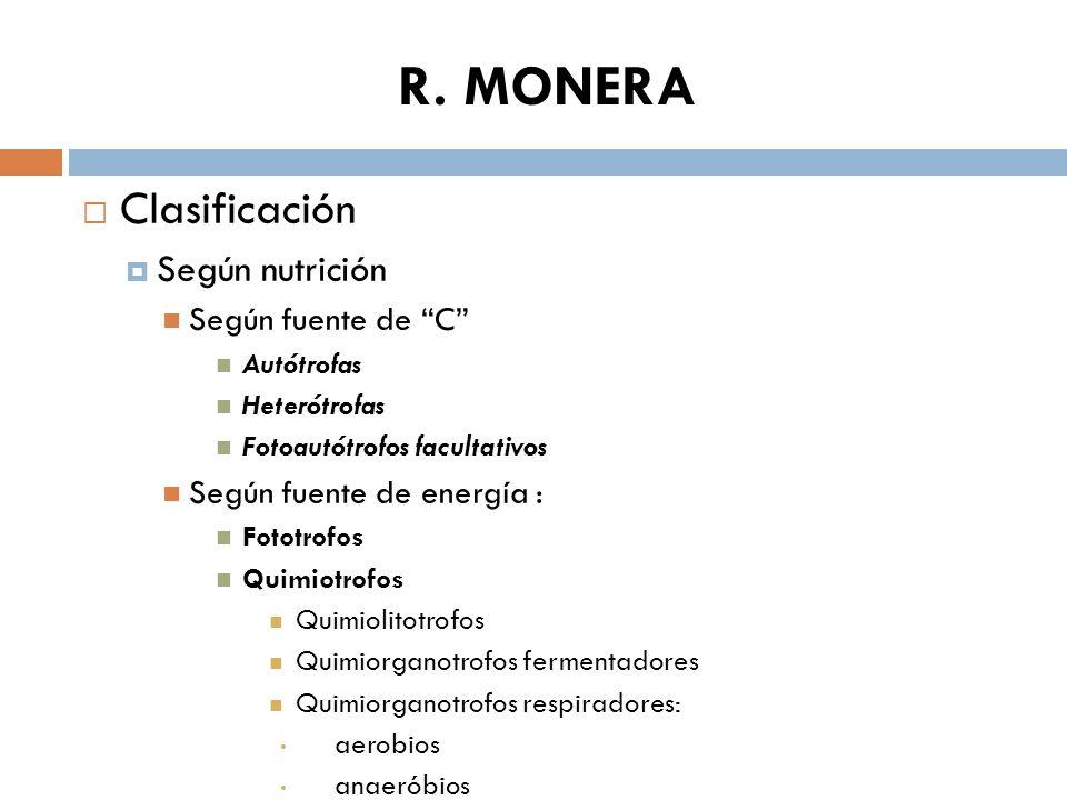 R. MONERA Clasificación Según nutrición Según fuente de C Autótrofas Heterótrofas Fotoautótrofos facultativos Según fuente de energía : Fototrofos Qui