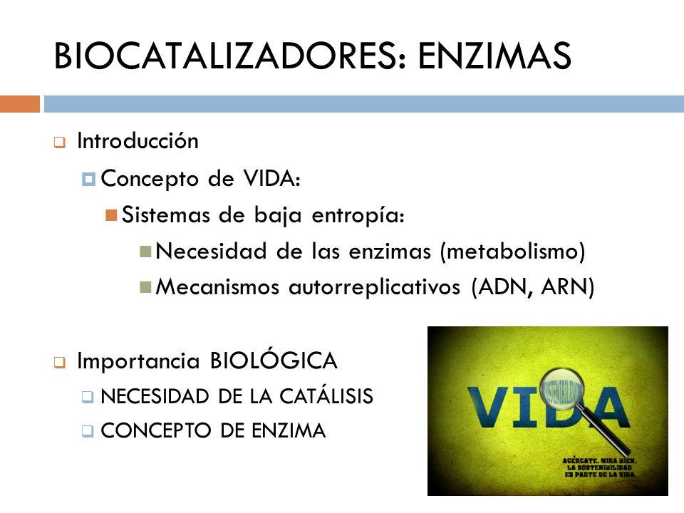 BIOCATALIZADORES: ENZIMAS Introducción Concepto de VIDA: Sistemas de baja entropía: Necesidad de las enzimas (metabolismo) Mecanismos autorreplicativo
