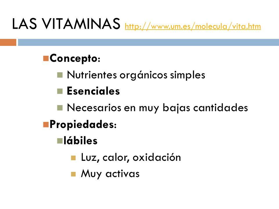 LAS VITAMINAS http://www.um.es/molecula/vita.htm http://www.um.es/molecula/vita.htm Concepto: Nutrientes orgánicos simples Esenciales Necesarios en mu