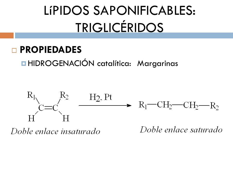 LíPIDOS SAPONIFICABLES: TRIGLICÉRIDOS PROPIEDADES HIDROGENACIÓN catalítica: Margarinas