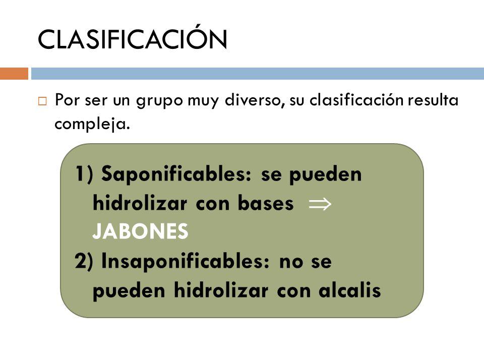 CLASIFICACIÓN Por ser un grupo muy diverso, su clasificación resulta compleja. 1) Saponificables: se pueden hidrolizar con bases JABONES 2) Insaponifi