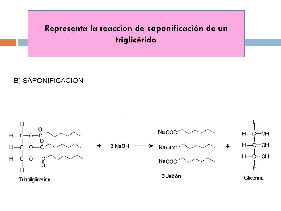 Representa la reaccion de saponificación de un triglicérido B) SAPONIFICACIÓN
