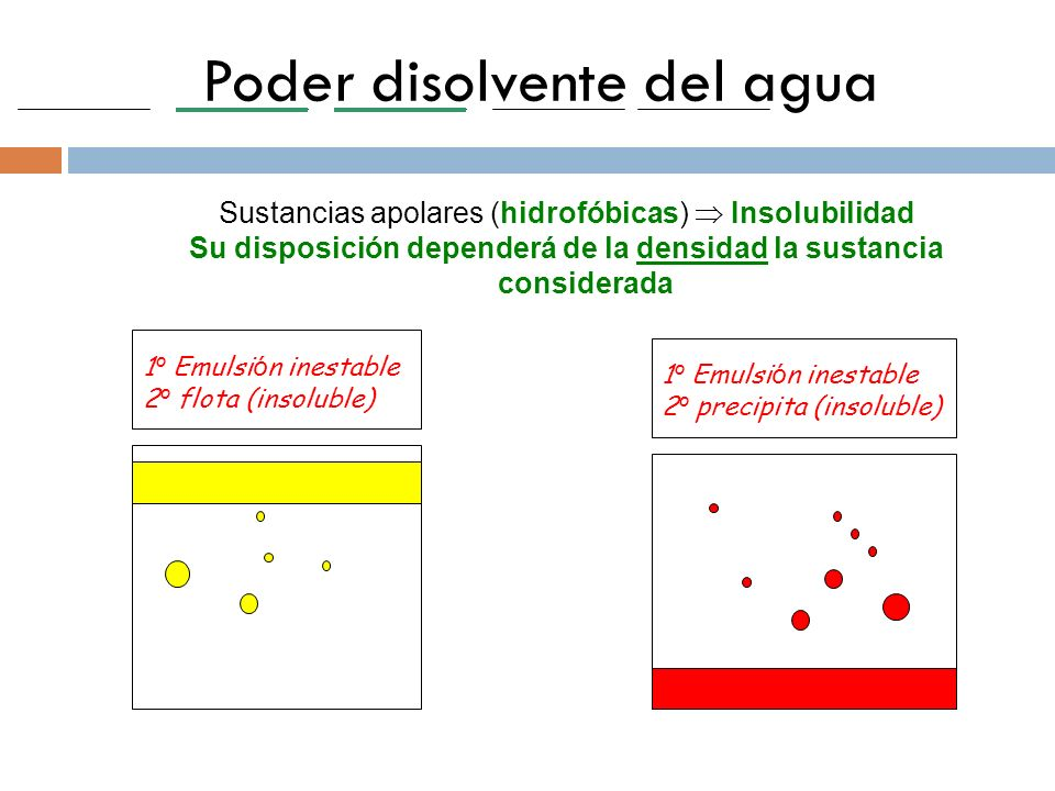 Poder disolvente del agua Sustancias apolares (hidrofóbicas) Insolubilidad Su disposición dependerá de la densidad la sustancia considerada 1 º Emulsi