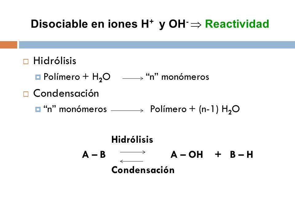 Disociable en iones H + y OH - Reactividad Hidrólisis Polímero + H 2 O n monómeros Condensación n monómeros Polímero + (n-1) H 2 O Hidrólisis A – B A