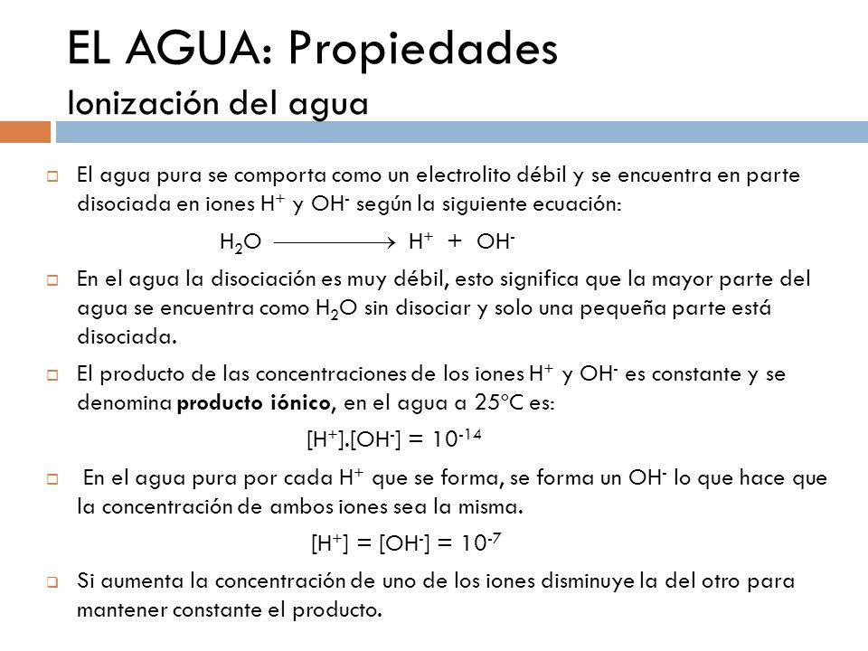 EL AGUA: Propiedades Ionización del agua El agua pura se comporta como un electrolito débil y se encuentra en parte disociada en iones H + y OH - segú