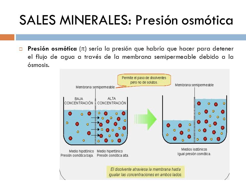SALES MINERALES: Presión osmótica Presión osmótica ( ) sería la presión que habría que hacer para detener el flujo de agua a través de la membrana sem