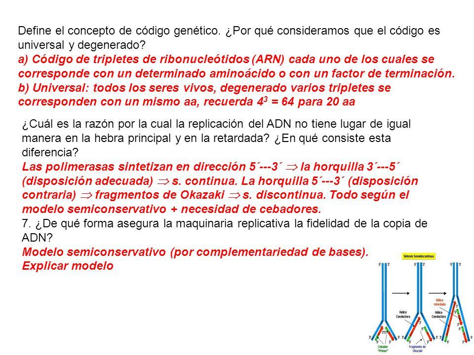 Define el concepto de código genético. ¿Por qué consideramos que el código es universal y degenerado? a) Código de tripletes de ribonucleótidos (ARN)