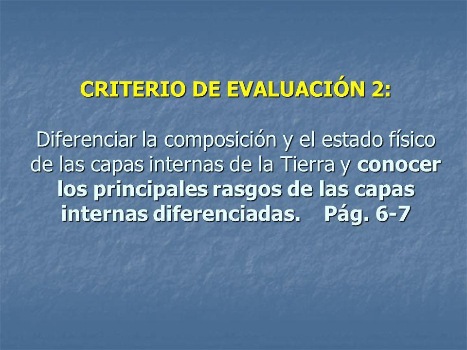 CRITERIO DE EVALUACIÓN 2: Diferenciar la composición y el estado físico de las capas internas de la Tierra y conocer los principales rasgos de las cap