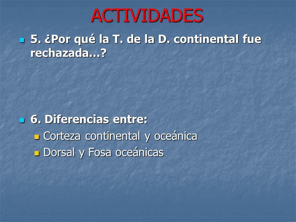 ACTIVIDADES 5. ¿Por qué la T. de la D. continental fue rechazada…? 5. ¿Por qué la T. de la D. continental fue rechazada…? 6. Diferencias entre: 6. Dif