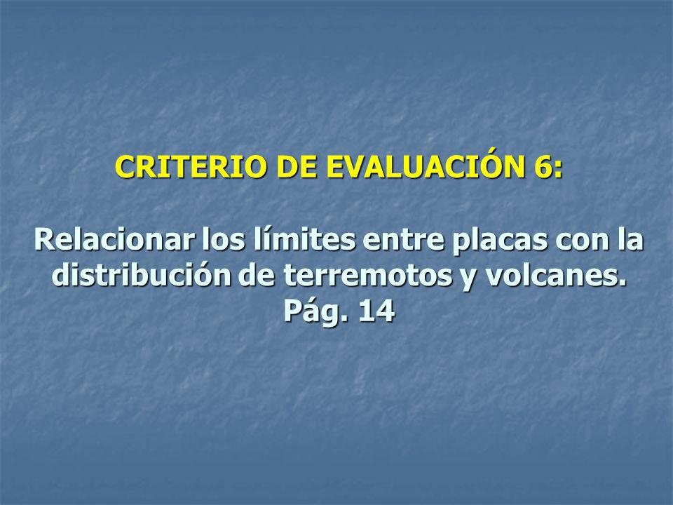 CRITERIO DE EVALUACIÓN 6: Relacionar los límites entre placas con la distribución de terremotos y volcanes. Pág. 14