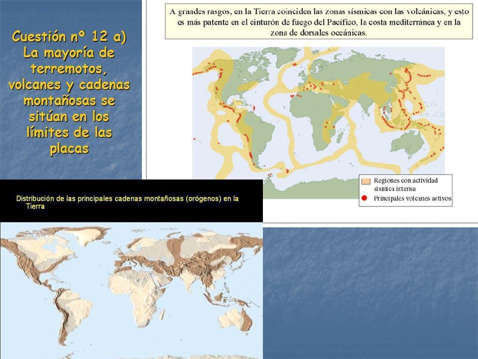 Cuestión nº 12 a) La mayoría de terremotos, volcanes y cadenas montañosas se sitúan en los límites de las placas