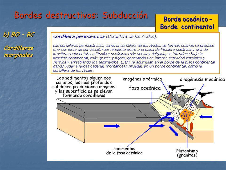 Bordes destructivos: Subducción b) BO – BC Cordillerasmarginales Borde oceánico – Borde oceánico – Borde continental