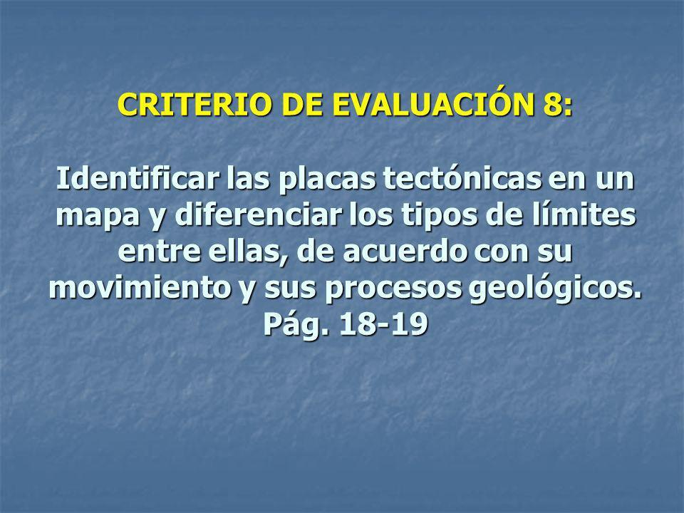 CRITERIO DE EVALUACIÓN 8: Identificar las placas tectónicas en un mapa y diferenciar los tipos de límites entre ellas, de acuerdo con su movimiento y