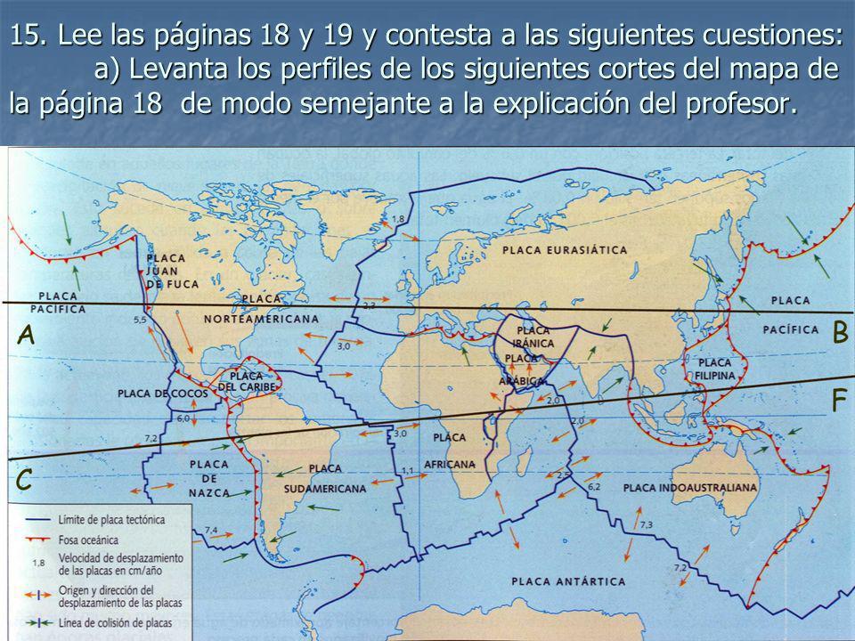 15. Lee las páginas 18 y 19 y contesta a las siguientes cuestiones: a) Levanta los perfiles de los siguientes cortes del mapa de la página 18 de modo