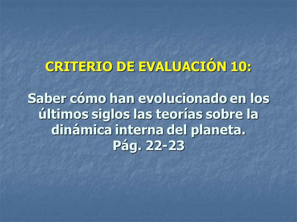 CRITERIO DE EVALUACIÓN 10: Saber cómo han evolucionado en los últimos siglos las teorías sobre la dinámica interna del planeta. Pág. 22-23