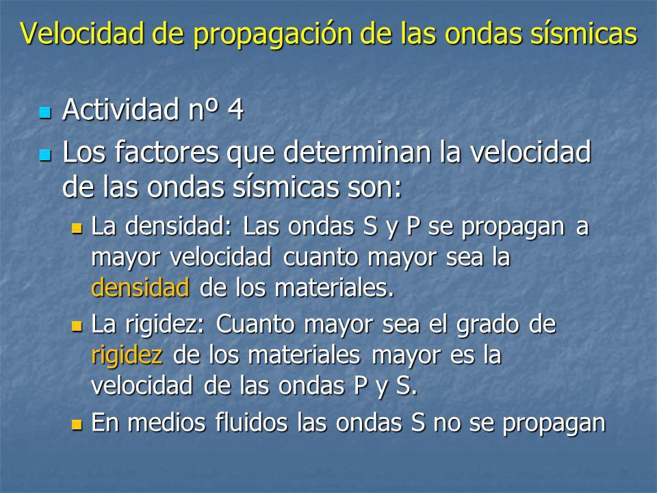 Velocidad de propagación de las ondas sísmicas Actividad nº 4 Actividad nº 4 Los factores que determinan la velocidad de las ondas sísmicas son: Los f