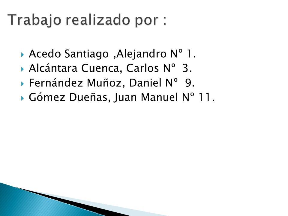 Acedo Santiago,Alejandro Nº 1. Alcántara Cuenca, Carlos Nº 3. Fernández Muñoz, Daniel Nº 9. Gómez Dueñas, Juan Manuel Nº 11.