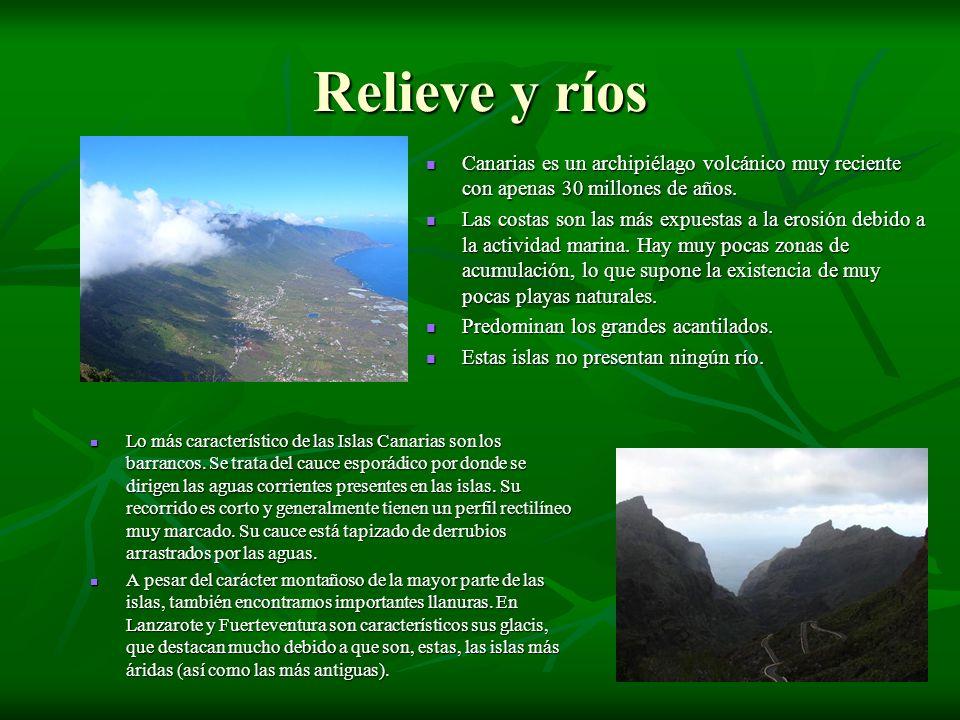 Relieve y ríos Canarias es un archipiélago volcánico muy reciente con apenas 30 millones de años. Canarias es un archipiélago volcánico muy reciente c