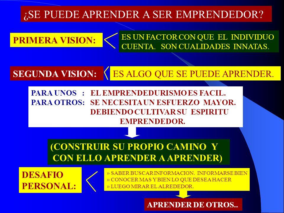¿SE PUEDE APRENDER A SER EMPRENDEDOR? PRIMERA VISION: ES UN FACTOR CON QUE EL INDIVIDUO CUENTA. SON CUALIDADES INNATAS. SEGUNDA VISION:ES ALGO QUE SE