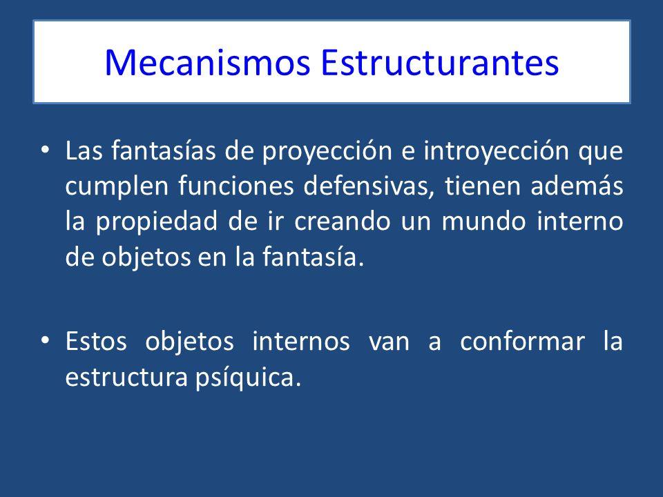 Mecanismos Estructurantes Las fantasías de proyección e introyección que cumplen funciones defensivas, tienen además la propiedad de ir creando un mun