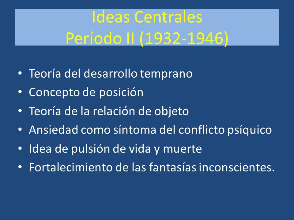 Ideas Centrales Período II (1932-1946) Teoría del desarrollo temprano Concepto de posición Teoría de la relación de objeto Ansiedad como síntoma del c