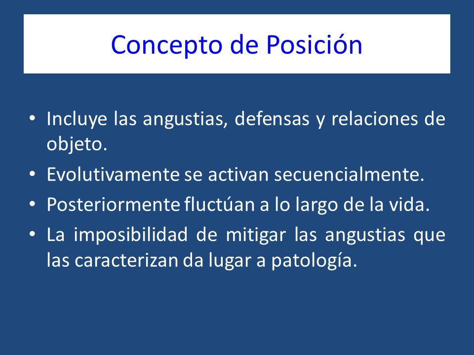 Concepto de Posición Incluye las angustias, defensas y relaciones de objeto. Evolutivamente se activan secuencialmente. Posteriormente fluctúan a lo l