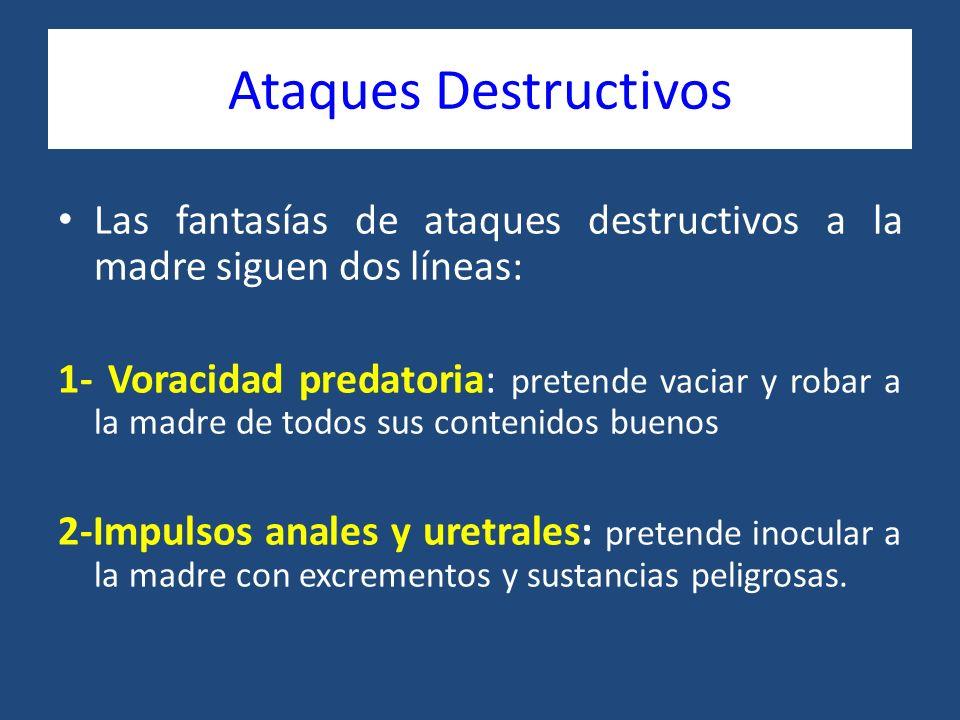 Ataques Destructivos Las fantasías de ataques destructivos a la madre siguen dos líneas: 1- Voracidad predatoria: pretende vaciar y robar a la madre d