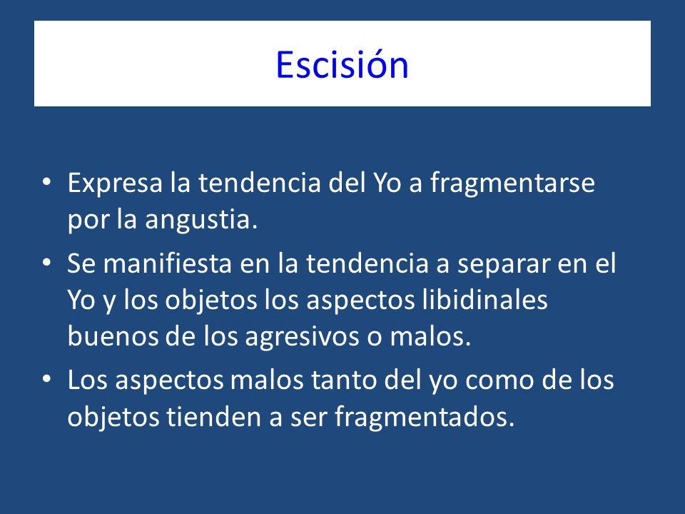 Escisión Expresa la tendencia del Yo a fragmentarse por la angustia. Se manifiesta en la tendencia a separar en el Yo y los objetos los aspectos libid
