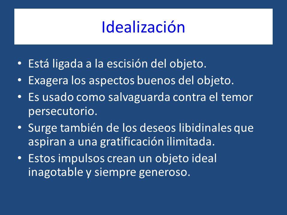 Idealización Está ligada a la escisión del objeto. Exagera los aspectos buenos del objeto. Es usado como salvaguarda contra el temor persecutorio. Sur