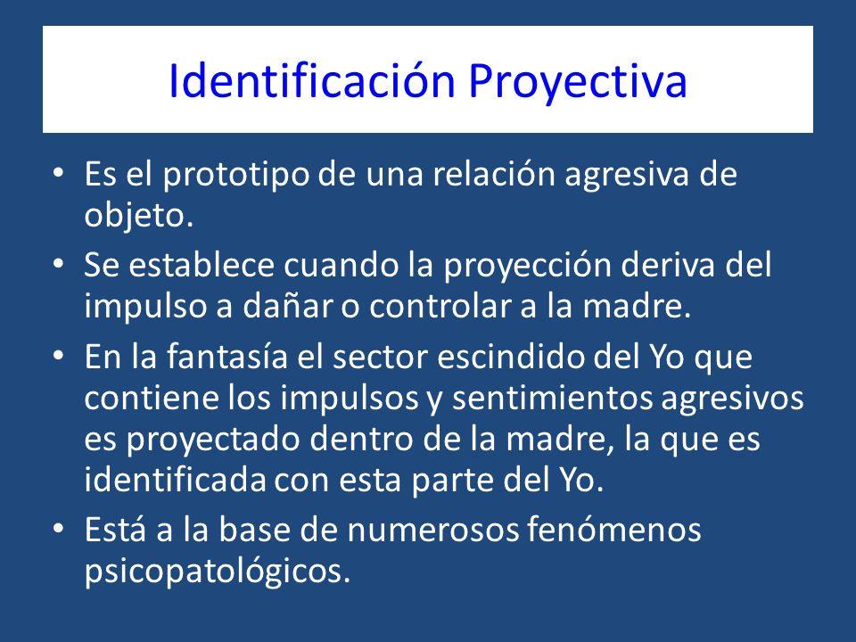 Identificación Proyectiva Es el prototipo de una relación agresiva de objeto. Se establece cuando la proyección deriva del impulso a dañar o controlar