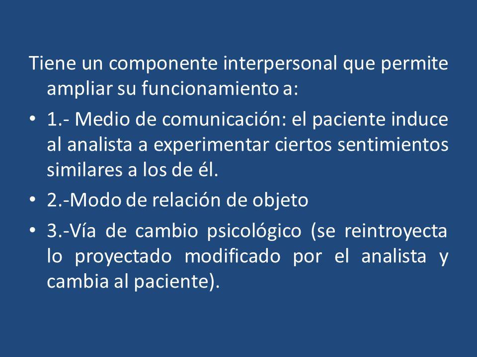 Tiene un componente interpersonal que permite ampliar su funcionamiento a: 1.- Medio de comunicación: el paciente induce al analista a experimentar ci