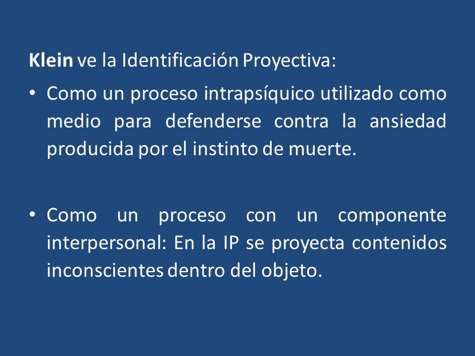 Klein ve la Identificación Proyectiva: Como un proceso intrapsíquico utilizado como medio para defenderse contra la ansiedad producida por el instinto