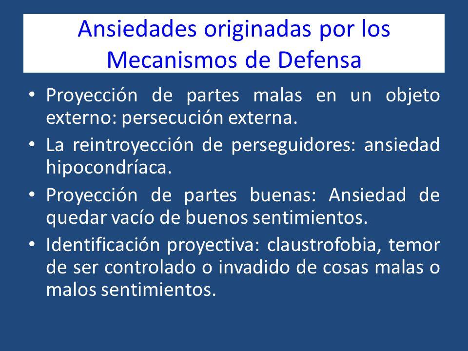 Ansiedades originadas por los Mecanismos de Defensa Proyección de partes malas en un objeto externo: persecución externa. La reintroyección de persegu