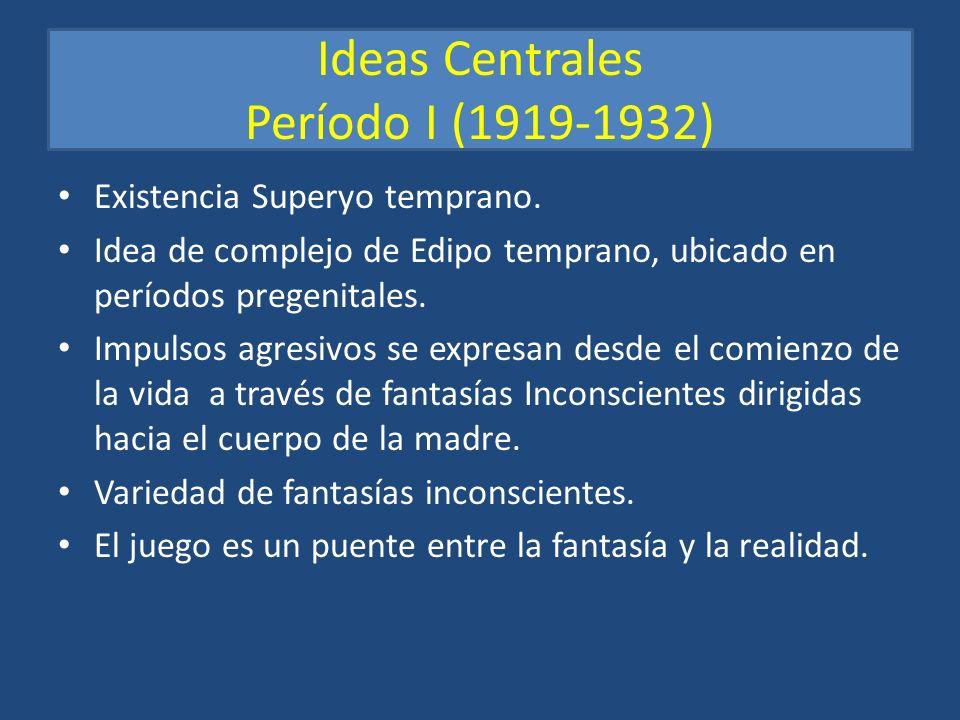 Ideas Centrales Período I (1919-1932) Existencia Superyo temprano. Idea de complejo de Edipo temprano, ubicado en períodos pregenitales. Impulsos agre