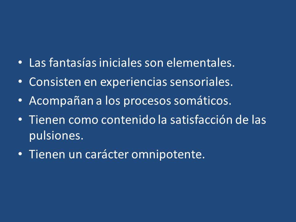 Las fantasías iniciales son elementales. Consisten en experiencias sensoriales. Acompañan a los procesos somáticos. Tienen como contenido la satisfacc