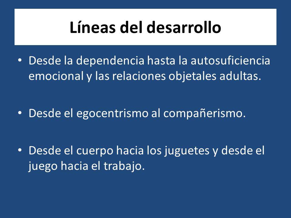 Líneas del desarrollo Desde la dependencia hasta la autosuficiencia emocional y las relaciones objetales adultas.