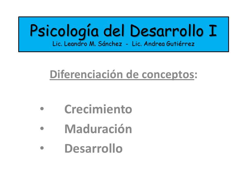 Psicología del Desarrollo I Lic. Leandro M. Sánchez - Lic. Andrea Gutiérrez Diferenciación de conceptos: Crecimiento Maduración Desarrollo
