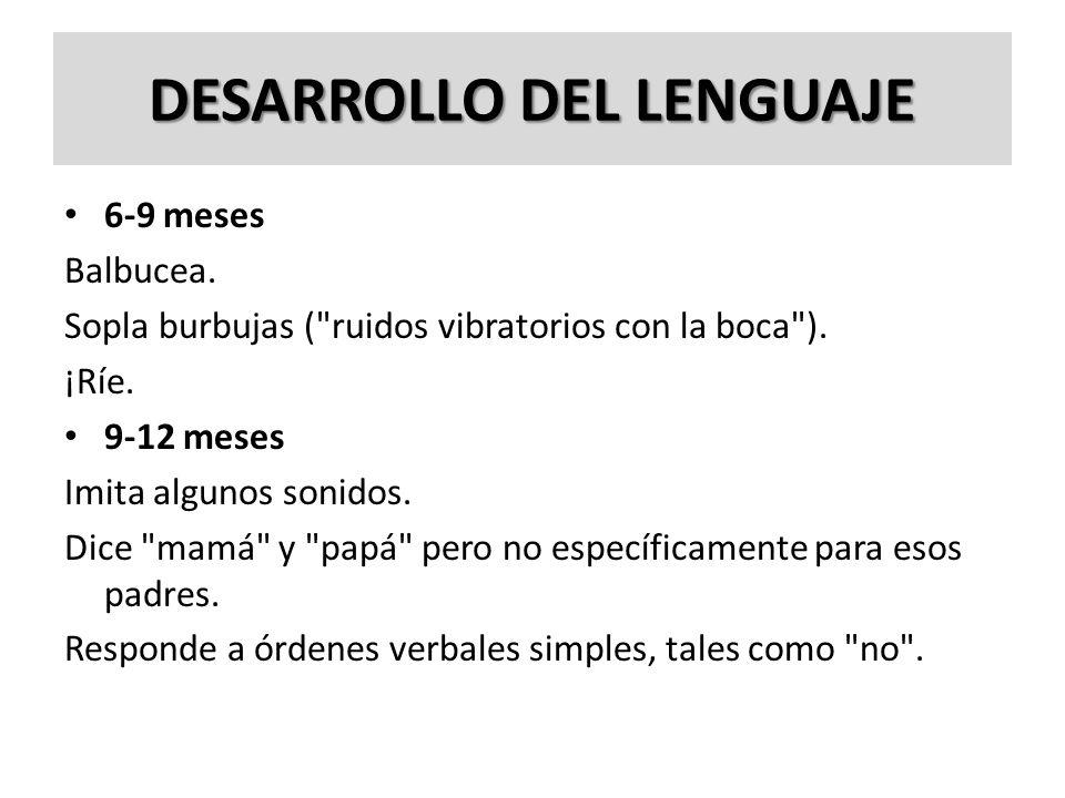 DESARROLLO DEL LENGUAJE 6-9 meses Balbucea. Sopla burbujas (